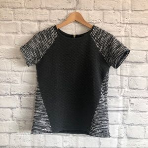 Sanctuary Gray Quilted / Knit Short Sleeved Top